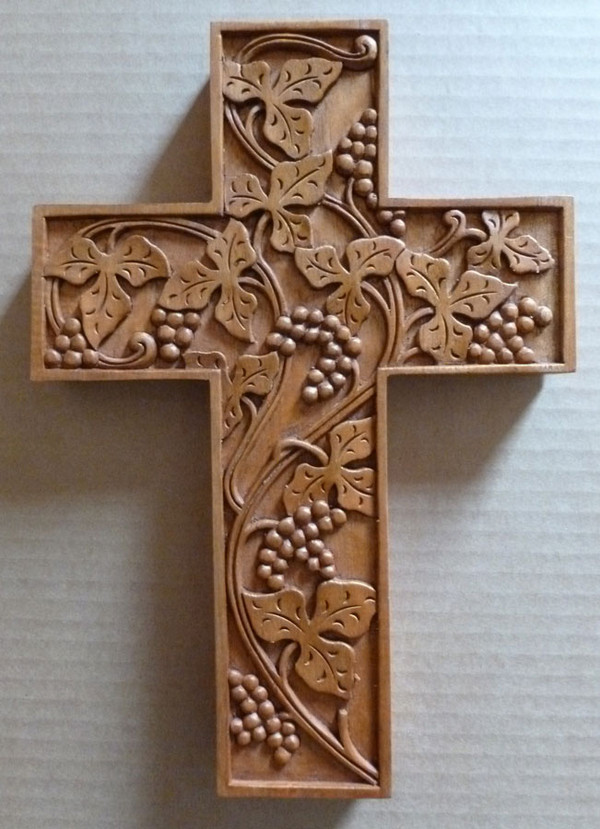 Stylized grape vine carved cross vinyard pinterest