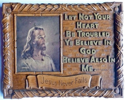 Picture in Focus: Jesus Never Fails Plaque with Warner Sallman Head of Christ