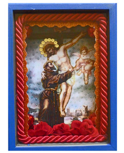 Picture in Focus. St. Francis Embracing Christ on the Cross Shadow box by Johnny Salas